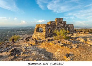 Dobbin's Lookout in Phoenix, Arizona. Built atop South Mountain by the Civilian Conservation Corps during the Great Depression, it is a popular destination for sightseers.