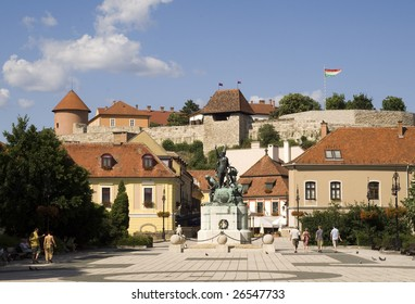 Dobo square - this is the main square of Eger, the Castle is in the background.