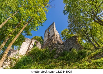 Dobra Voda Castle is a ruin of a Gothic castle situated in the central part of the Little Carpathians above the village of Dobrá Voda in the Trnava District, Slovakia - Shutterstock ID 1829448005
