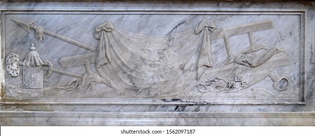 DOBROTA, MONTENEGRO - MAY 02, 2019: Veil of Veronica, detail of the altar in the Catholic Church Saint Eustache in Dobrota, Montenegro