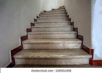 Dobrota, Montenegro - Stone stairs in the interior of the nineteenth century Dalmatian villa