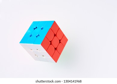 Dobrush, Belarus - 3 February 2019. Rubics cube on white background, top view