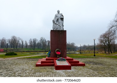 DOBRUSH, BELARUS - NOVEMBER 20, 2017: Memorial to fallen in Great Patriotic War, Dobrush, Gomel region, Belarus