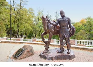 Dobrynja Nikitich sculpture - hero of Russian epic in ancient town Korosten, Ukraine - Shutterstock ID 142236697