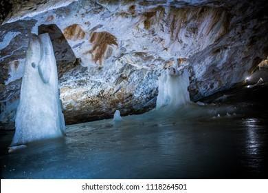 Dobsinska ice cave in Slovakia, Slovak paradise