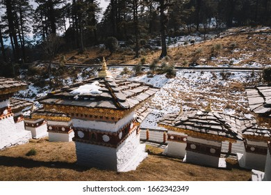 Dochula pass with 108 stupas or chortens in Thimphu on the east west road.The Dochula Pass is a mountain pass in the snow covered Himalayas within Bhutan on the road from Thimphu to Punakha.