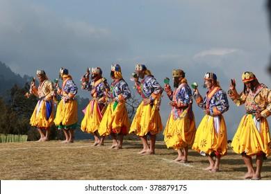 DOCHULA, THIMPHU, BHUTAN - DECEMBER 13, 2015: A peaceful Dakini dance called Paa-chham during Druk Wangyal Tshechu