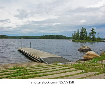 dock and boat ramp on northern lake in Voyagers national park