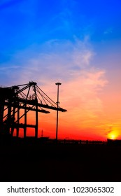 in the eveningï¼?Freight dock of container crane