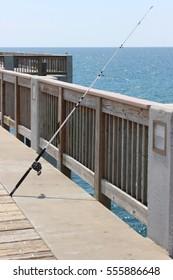 Dock fishing on the ocean