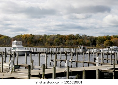 dock in the lake with boats