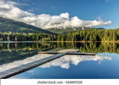 Dock at Lost lake in Whistler, British Columbia