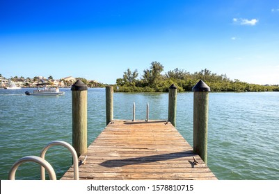 Dock at the Loxahatchee River off of Sawfish Bay Park in Jupiter, Florida.