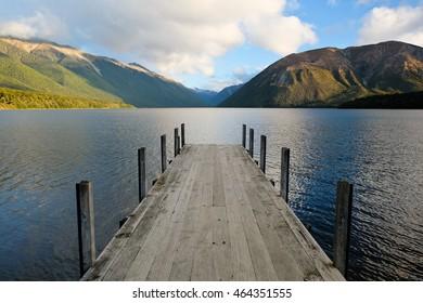 Dock on Lake Rotoiti at Sunrise. Nelson Lakes National Park, New Zealand