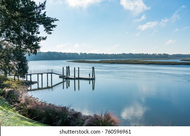 Dock on the May River estuary in Bluffton, South Carolina.  Taken early morning.