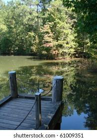 Dock on peaceful pond