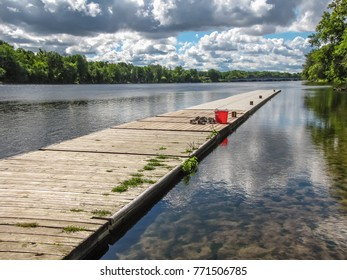 Dock with red bucket