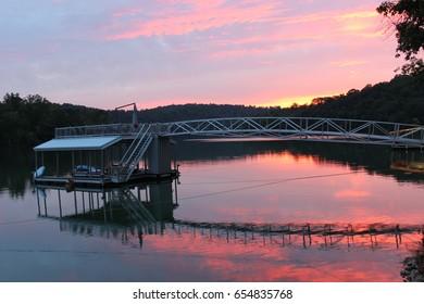 Dock at sunset of Norris Lake