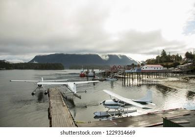 Dock at Tofino with sea planes in Vancouver Island, British Columbia, Canada