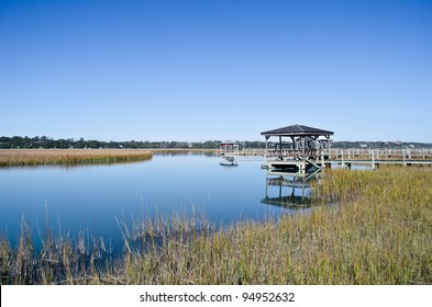 A dock and walkway on the marshlands of Pawley's Island, South Carolina