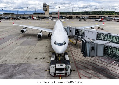 Docked airplane before take off