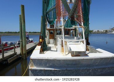 A Docked Boat in a Marina in Southport, North Carolina