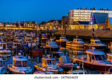 Docked boats in the harbor at the royal scarphout yacht club of Blankenberge, Belgium, 15 february, 2019