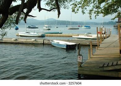 Docked boats on lake in the Berkshire Mountains, Massachusetts