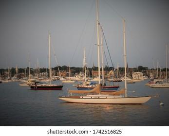 Docked Sailboats in Newport, RI
