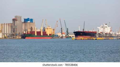 Docked ships in the harbor of Antwerp, Belgium.