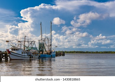 Docked shrimp boats in Biloxi Bay, Mississippi