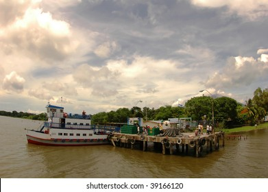 Docking a small Ferry Pier in Ometepe, Lake Nicaragua