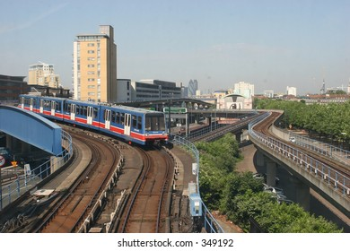 Docklands Light Railway (DLR) en route from Canary Wharf