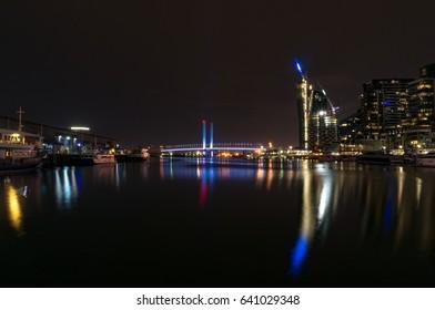 Docklands Melbourne neighbourhood at night