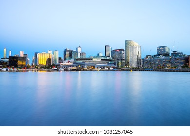 Docklands in Melbourne at twilight including Etihad Stadium - Melbourne, Victoria, Australia - 21 February 2018