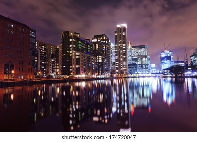 The Docklands at night, London, United Kingdom