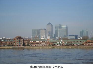 docklands skyline and River Thames London England