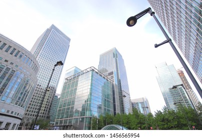 Docklands skyscrapers office building cityscape London UK