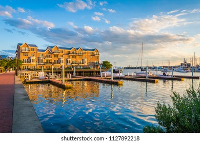 Docks and waterfront condominiums in Canton, Baltimore, Maryland