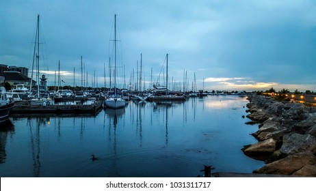 Docks with yachts and ships in Oakville, ON