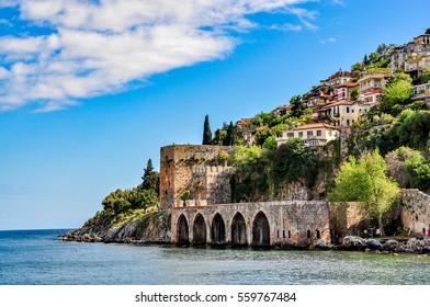 Dockyard and arsenal in Alanya on a beautiful, sunny day, Turkey