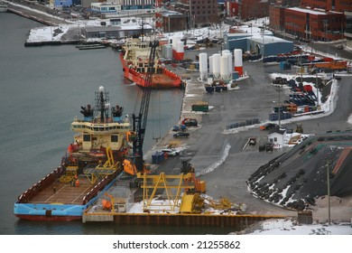 A dockyard in winter, full of color.