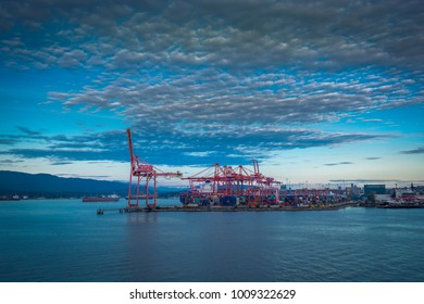 Dockyards as viewed from Canada Place at dusk, Vancouver, British Columbia, Canada, North America 12 September 2017