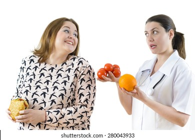 Doctor advising a fat woman to eat healthy. Fat woman eating stealthily high calorie foods.