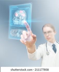 Doctor analyzing brain activity