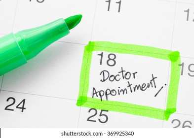 Doctor appointment on calendar.