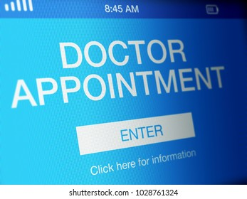 Doctor appointment page on a high resolution LCD screen.