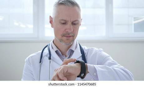 Doctor Browsing on Smartwatch