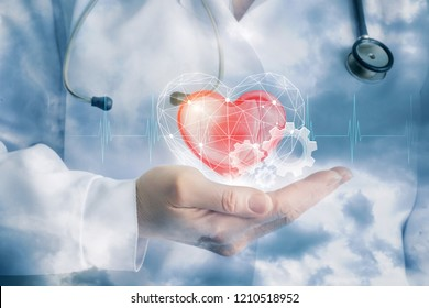 A doctor is carefuly keeping a big red heart hidden in the digital cage with cogwheels by its side.
