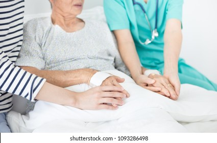 doctor and caregiver talk with old asian patient about disease symptom , elderly health care , hand in hand, they  holding hand of patient, mother day